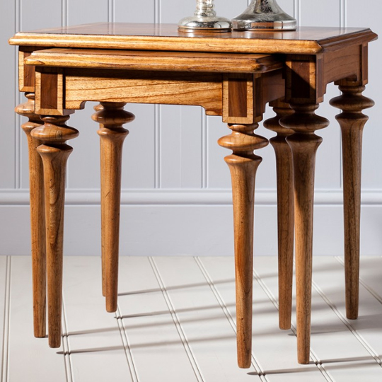 Spire Wooden Set Of 2 Nesting Tables In Walnut