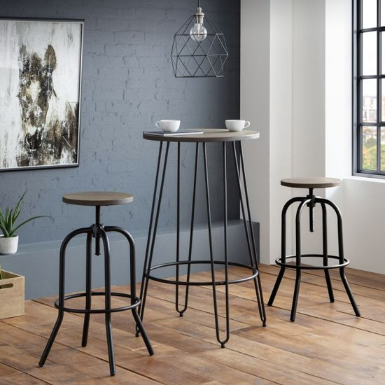 Spitfire Industrial Bar Stool In Mocha Elm