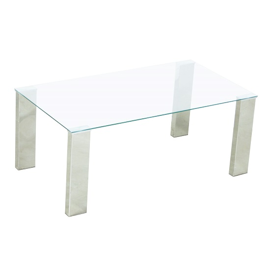 Splash Coffee Table Rectangular In Clear Glass With Chrome Legs