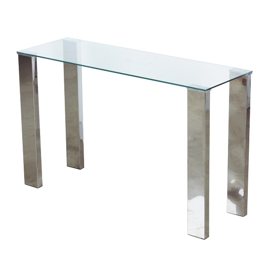 Splash Console Table Rectangular In Clear Glass With Chrome Legs