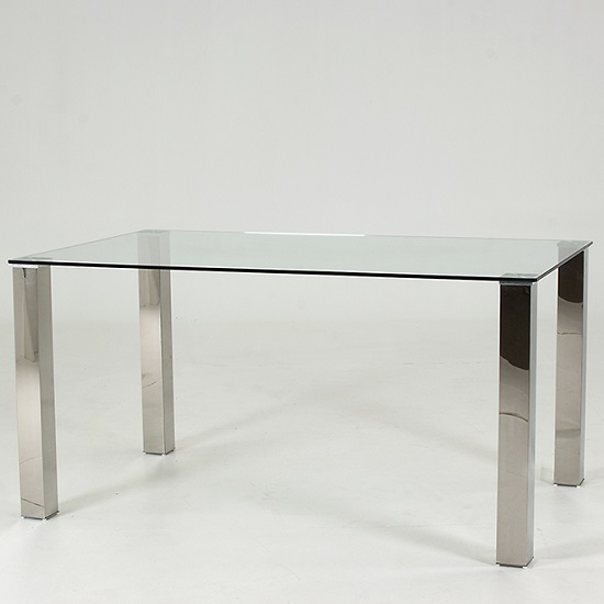 Splash Dining Table Rectangular In Clear Glass With Chrome Legs