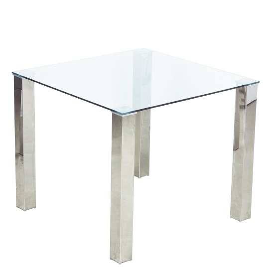 splash dining table square in clear glass with chrome legs. Black Bedroom Furniture Sets. Home Design Ideas