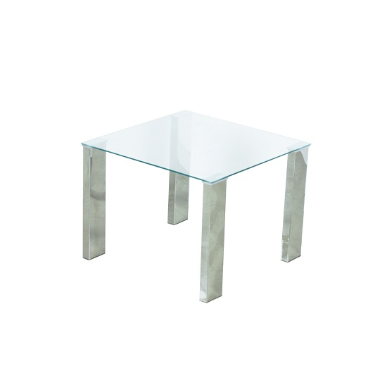 Splash Lamp Table Square In Clear Glass With Chrome Legs