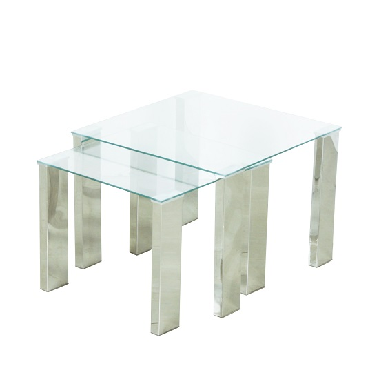 Splash Nest of Tables In Clear Glass With Chrome Legs
