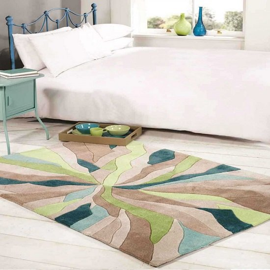 Infinite Splinter Teal And Green Rug