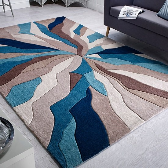 Infinite Splinter Teal Rug_1