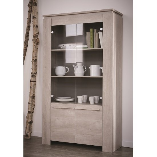 Portland Glass Display Cabinet In Champagne Oak With 4 Doors