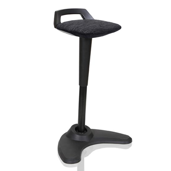 Spry Fabric Office Stool In Black Frame And Black Seat