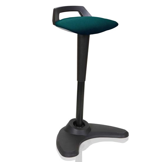Spry Fabric Office Stool In Black Frame And Maringa Teal Seat