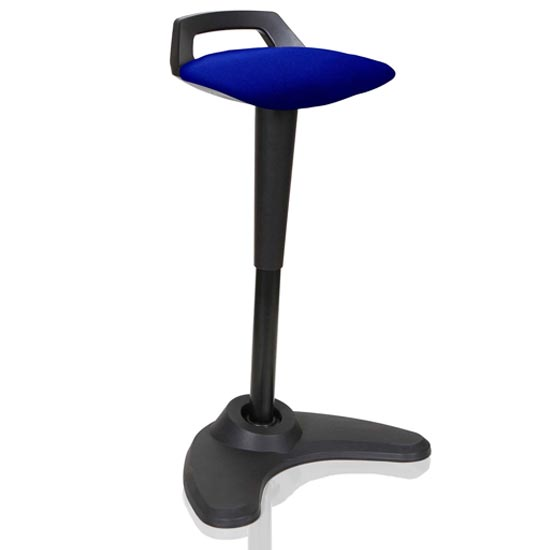 Spry Fabric Office Stool In Black Frame And Stevia Blue Seat