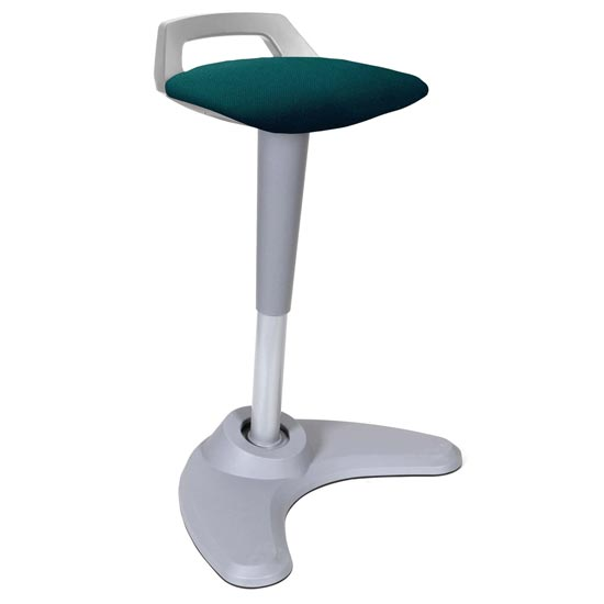 Spry Fabric Office Stool In Grey Frame And Maringa Teal Seat