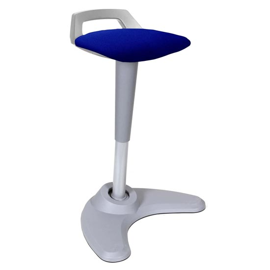 Spry Fabric Office Stool In Grey Frame And Stevia Blue Seat_1