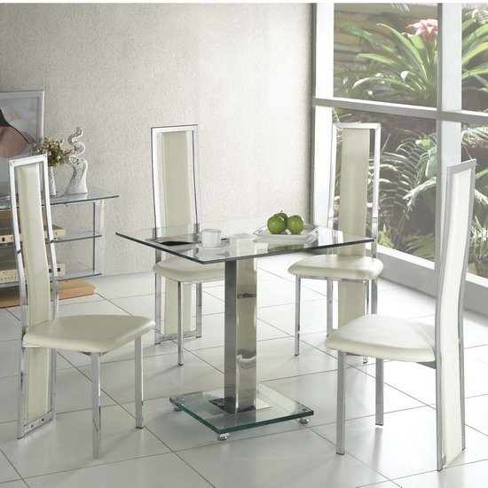 Ice Dining Table Square In Clear Glass With 4 Cream Dining