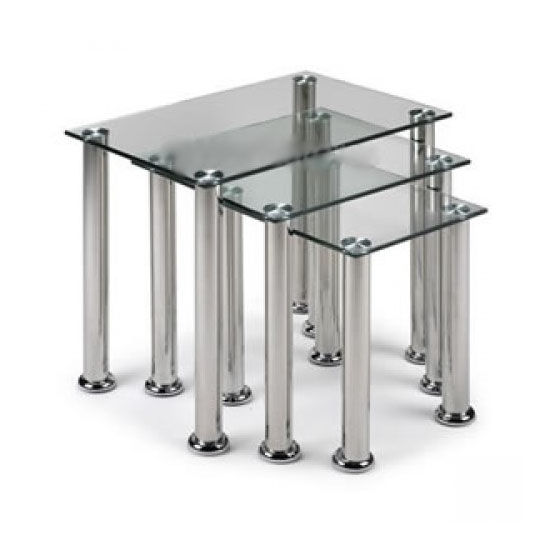 Clear Glass Square Nest Of Tables