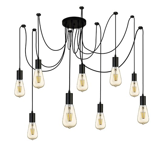 Squiggle 9 Lights Pendant Ceiling Light In Black