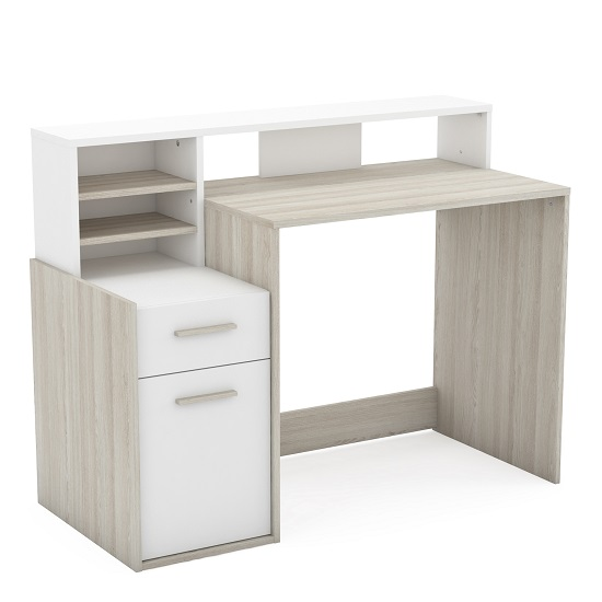 Squire Wooden Computer Desk In Shannon Oak And Pearl White