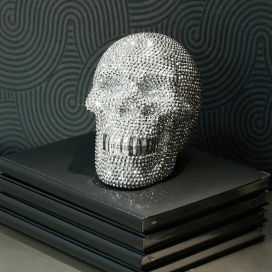 Large Ornament Studded Silver Skull 19386 Furniture In