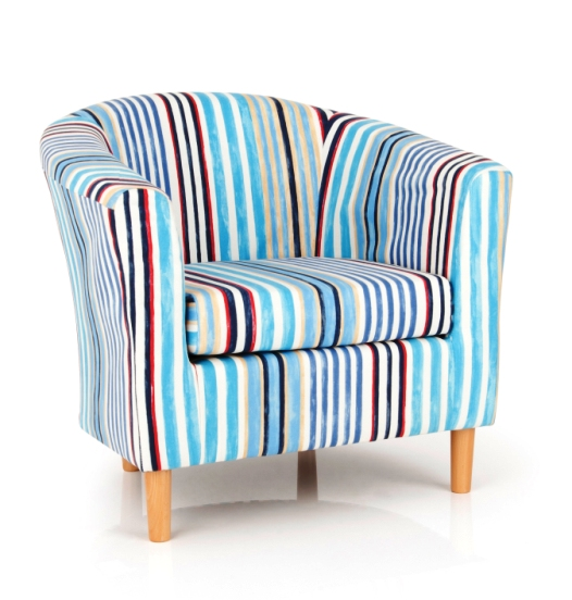 St Ives Upholstered Blue Multi Fabric Tub Chair