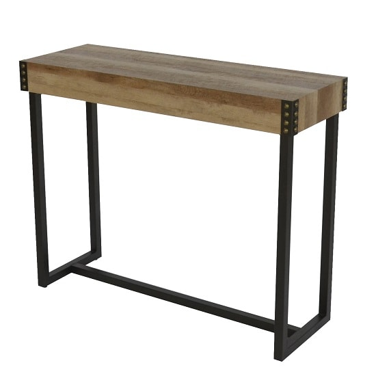 Stacey Wooden Rectangular Console Table With Black Metal Legs