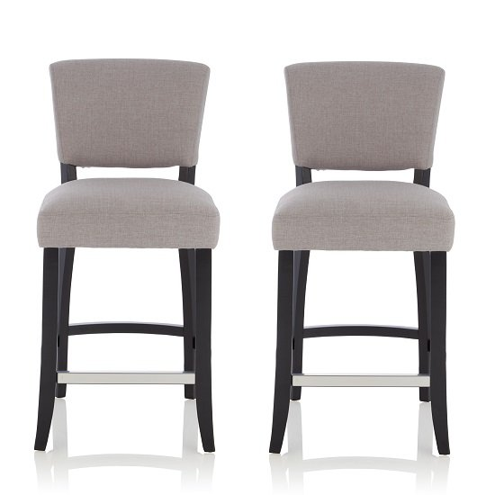 Stacia Bar Stools In Grey Fabric And Black Legs In A Pair
