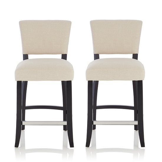 Stacia Bar Stools In Linen Fabric And Black Legs In A Pair