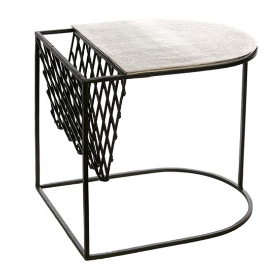 Stack Aluminium Side Table In Antique Black And Silver