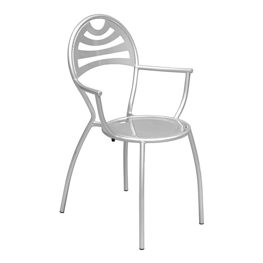 Stacking Bistro Carver Chair In Powder Coated Silver
