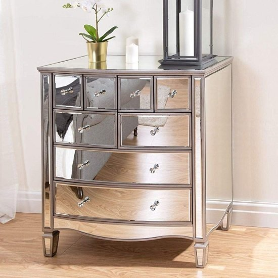 Stafford Mirrored Chest Of Drawers With 8 Drawers
