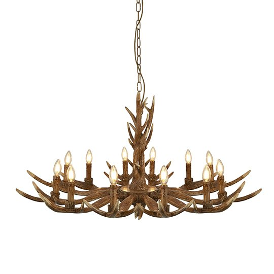 Stag 12 Lights Antler Pendant Ceiling Light In Brown
