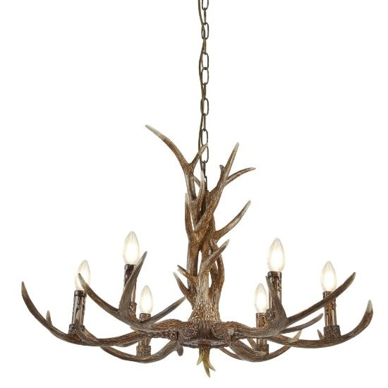 Marvelous Stag 6 Light Antler Ceiling Fitting