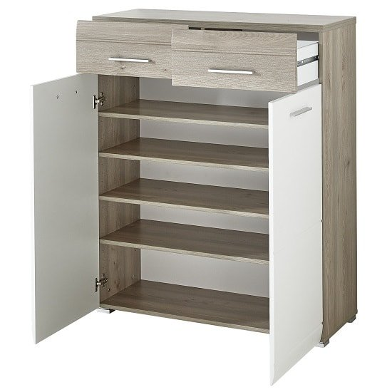 Staley Wooden Shoe Cabinet In Nelson Oak And White With 2 Doors_2