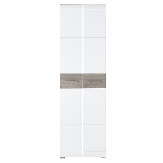 Staley Wooden Hallway Wardrobe In Nelson Oak And White_4