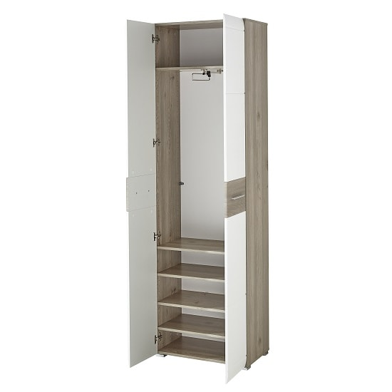 Staley Wooden Hallway Wardrobe In Nelson Oak And White_3