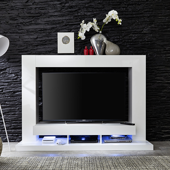 Stamford Entertainment Unit In White Gloss Fronts With Shelving_2