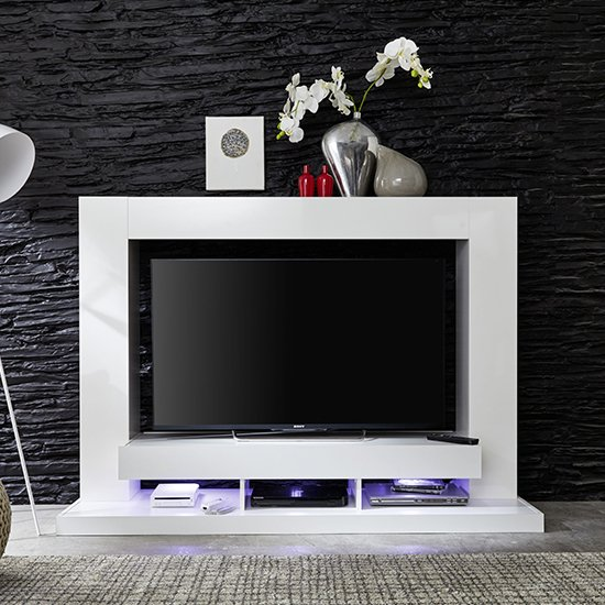 Stamford Entertainment Unit In White Gloss Fronts With Shelving_5