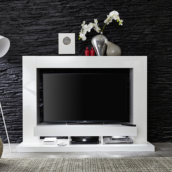Stamford Entertainment Unit In White Gloss Fronts With Shelving_6