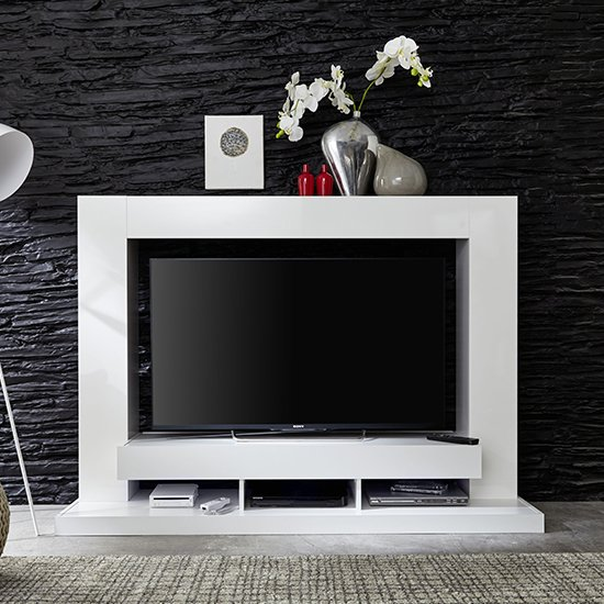 Stamford Entertainment Unit In White Gloss Fronts With Shelving_1