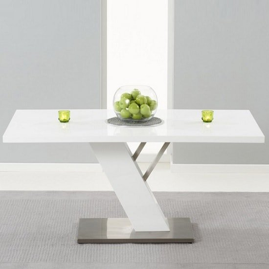 Stanton Dining Table In White High Gloss With Brushed Metal Base_1