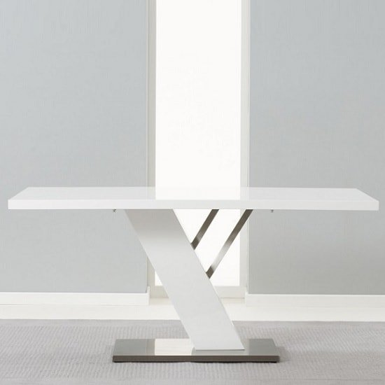 Stanton Dining Table In White High Gloss With Brushed Metal Base_2
