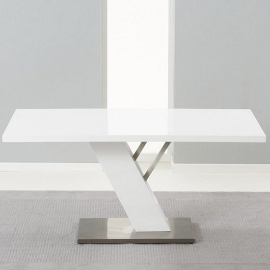 Stanton Dining Table In White High Gloss With Brushed Metal Base_3