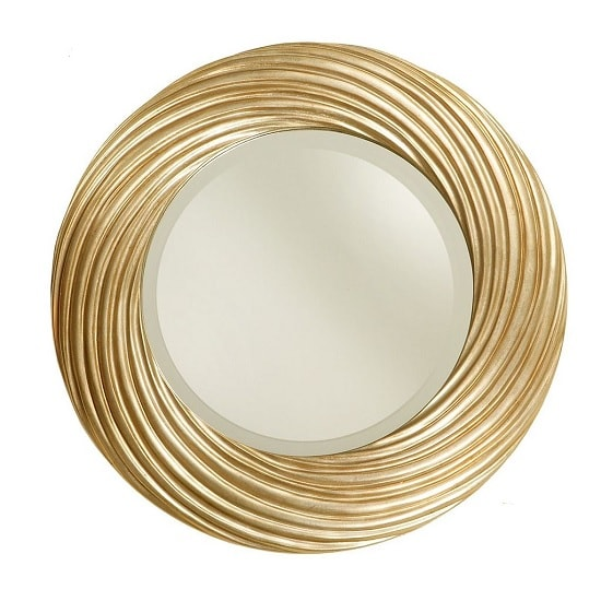 Stanton Swirl Effect Wall Mirror Round In Gold Leaf