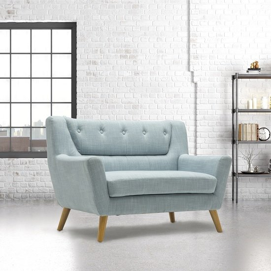 Product photograph showing Stanwell 2 Seater Sofa In Duck Egg Blue Fabric With Wooden Legs