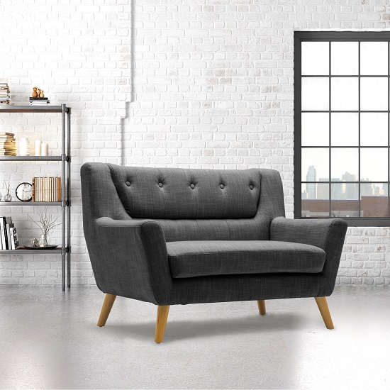 Stanwell 2 Seater Sofa In Grey Fabric With Wooden Legs