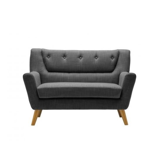 Stanwell 2 Seater Sofa In Grey Fabric With Wooden Legs_2