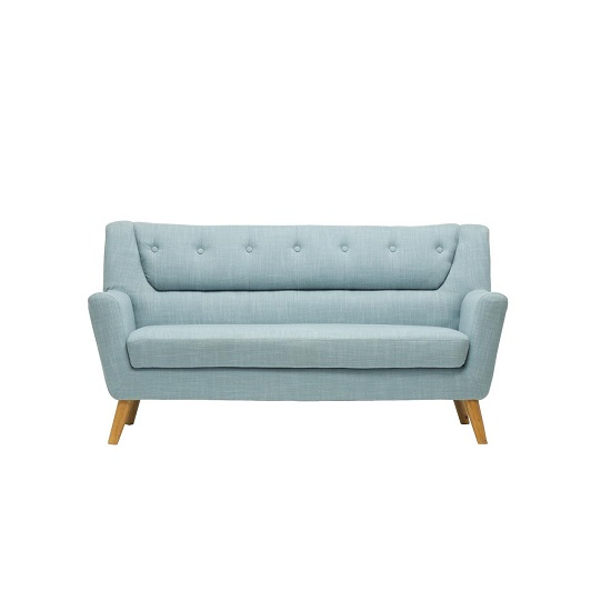 Stanwell 3 Seater Sofa In Duck Egg Blue Fabric With Wooden Legs_2