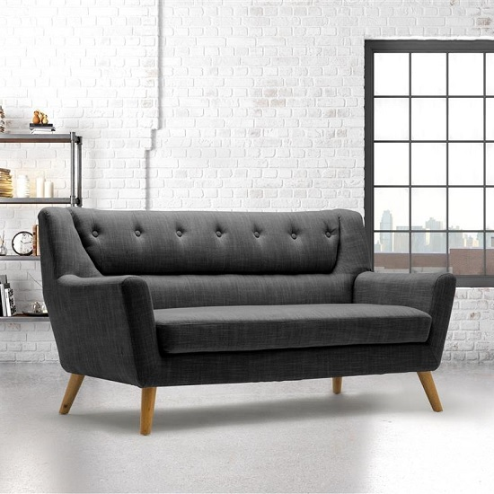 Stanwell 3Seater Sofa In Grey Fabric With Wooden Legs_1