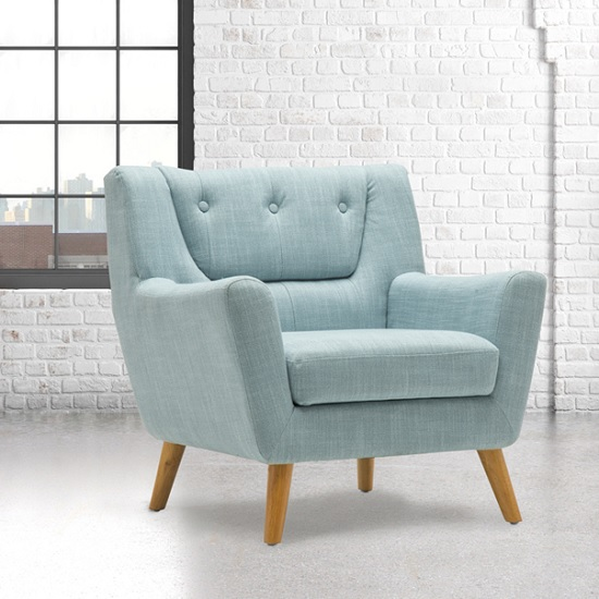 Stanwell Sofa Chair In Duck Egg Blue Fabric With Wooden Legs 1