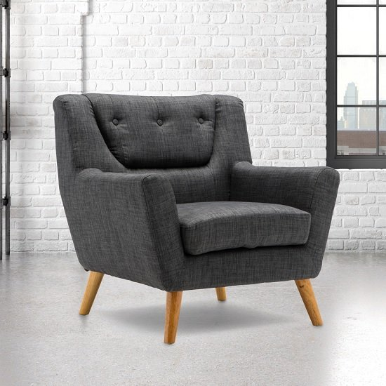 Stanwell Sofa Chair In Grey Fabric With Wooden Legs