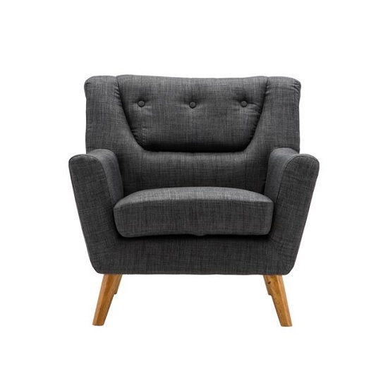 Stanwell Sofa Chair In Grey Fabric With Wooden Legs_2