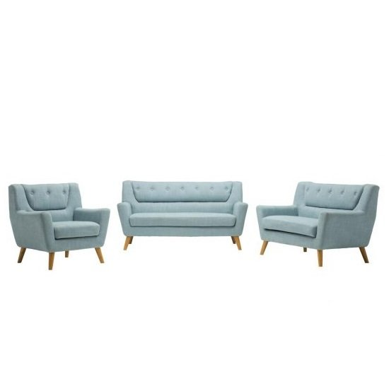Stanwell 3 Seater Sofa In Duck Egg Blue Fabric With Wooden Legs_4